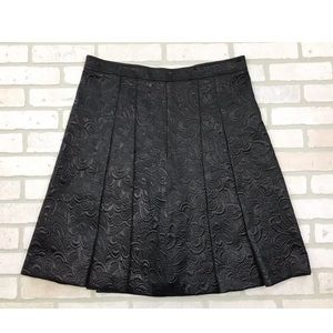 Burberry Floral Metallic Pleat A Line Skirt 14/16